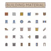 stock photo of plinth  - Thirty Colored Building Material Line Icons including door - JPG