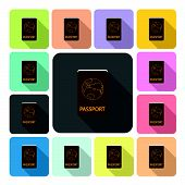 picture of passport cover  - Passport Icon color set vector illustration  - JPG