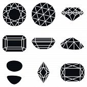 picture of marquise  - Basic Diamond Gemstone Shapes Icons Vector Illustration - JPG