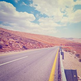 picture of samaria  - Meandering Road in Sand Hills of Samaria Retro Effect - JPG