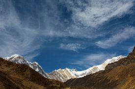 picture of sanskrit  - Annapurna South peack in the Nepal Himalaya  - JPG