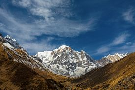 pic of sanskrit  - Annapurna South peack in the Nepal Himalaya  - JPG