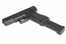 stock photo of handgun  - automatic 9mm handgun isolated on a white background - JPG