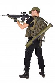 foto of m16  - mercenary with m16 rifle isolated on white - JPG