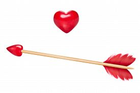 picture of cupid  - Cupid arrow with red feathers and arrow in shape of a red heart stick made of wood wooden heart also included for design purposes - JPG
