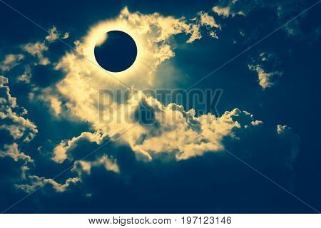 poster of Scientific Natural Phenomenon. Total Solar Eclipse With Diamond Ring Effect Glowing On Sky.