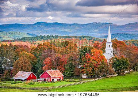 poster of Peacham, Vermont, USA rural autumn scene.