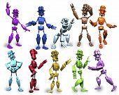 Robots de multicolores en diferentes Poses