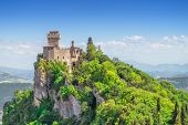 The Cesta Tower on Monte Titano in San Marino. The main of three medieval towers which is symbol of  poster