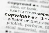 stock photo of pronunciation  - A close up of the word copyright from a dictionary - JPG