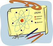 foto of neutrons  - atom drawing on paper prepared for the exam  - JPG