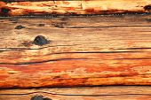 stock photo of log cabin  - Close up of rustic log cabin background - JPG