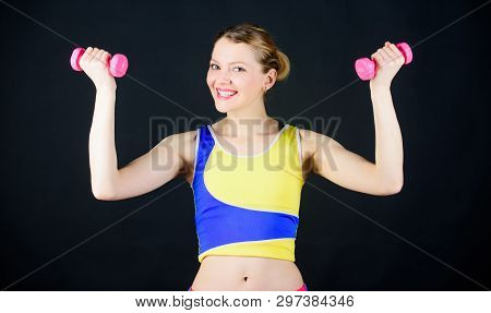 poster of Health Diet. Fitness Success. Strong Muscles And Power. Sport Dumbbell Equipment. Athletic Fitness.