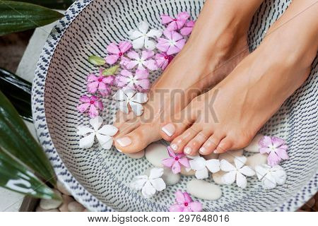 poster of Spa Treatment And Product For Woman Feet And Foot Spa. Foot Bath In Bowl With Tropical Flowers, Thai