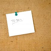 "pic of bulletin board  - ""to do"" list on corkboard ready to be filled. - JPG"