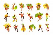 People Dancing And Playing Music, Brazil Carnival, Dancing Men And Women In Bright Costumes Vector I poster