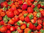 Fresh Strawberries Background. Strawberry. Food Background.copy Space. Top View, Healthy Food For Br poster