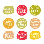 Set Of Round Green Labels With Text Lactose Free poster