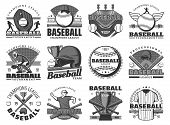 Baseball Sport, Team Club Badges Or League Tournament Icons. Vector Baseball Or Softball Game Champi poster