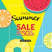 Summer Sale Discount 50 Percent Off Template Banner With Pieces Of Tropical Fruit On Colorful Backgr poster