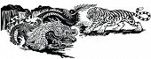 Chinese East Asian Dragon Versus Tiger . Two Spiritual Creatures In The Buddhism Representing The Sp poster
