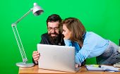 So Happy. Business Couple At Computer. Businessman And Assistant Solve Problem. Woman And Man Work I poster