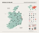 Vector Map Of Republic Of Ireland. High Detailed Country Map With Division, Cities And Capital Dubli poster
