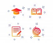 Pencil With Document And Open Book Icons. Graduation Cap And Geography Globe Symbols. Learn Signs. R poster