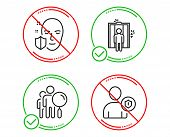 Do Or Stop. Search People, Elevator And Face Protection Icons Simple Set. Security Sign. Find Employ poster