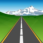 Road Between Meadows Heading To Snowy Mountains On Horizon - Abstract Landscape Under Blue Sky. Vect poster