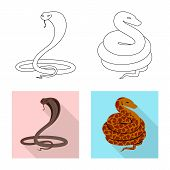 Vector Design Of Mammal And Danger Icon. Collection Of Mammal And Medicine Stock Symbol For Web. poster