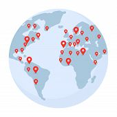 Planet Earth With Pointer Marks Illustration. World Wide Shipping, Delivery, Location, Gps Navigatio poster