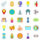 Temporary Difficulty Icons Set. Cartoon Set Of 25 Temporary Difficulty Icons For Web Isolated On Whi poster