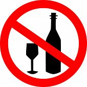 No Alcohol Drink Sign. Logo Element. No Drinking Sign, No Alcohol Sign, Isolated On White Background poster