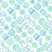 Security And Protection Seamless Pattern With Thin Line Icons: Mobile Security, Fingerprint, Badge,  poster