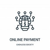 Online Payment Icon Isolated On White Background From Cashless Society Collection. Online Payment Ic poster