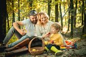 Picnic In Nature. Country Style Family. Meaning Of Happy Family. United With Nature. Family Day Conc poster
