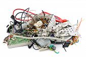 Small heap of mixed electronic waste