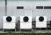 Air Compressor Cabinet Of House, Compressor Of Refrigerator To Cooling, Circulating Heat To Exchange poster