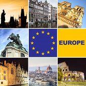 Europe - set of european landmark shots poster