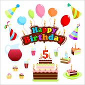 Signboard For The Birthday Of 5 Years. Illustration Celebrations. Happy Birthday Sign In The Form Of poster