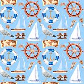 Watercolor Sea Voyage, Yachting, Ship Voyage, Seamless Pattern poster
