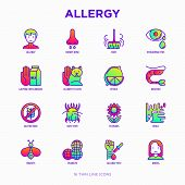 Allergy Thin Line Icons Set: Runny Nose, Dust, Streaming Eyes, Lactose Intolerance, Citrus, Seafood, poster