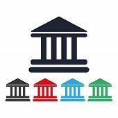 Bank Building Icon Vector Eps10. Vector Illustration. Court Building Vector Icon. Vector Bank Buildi poster