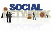Financial social network  isolated over a white background - 3D text