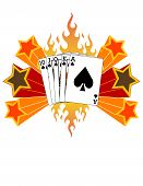 Royal Flush on Fire with Abstract Stars! Vector