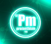 Promethium Chemical Element. Sign With Atomic Number And Atomic Weight. Chemical Element Of Periodic poster