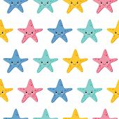 Cute Kids Starfish Seamless Pattern For Girls And Boys. Colorful Starfish Background. Kawaii Style poster