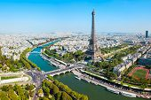 Eiffel Tower Or Tour Eiffel Aerial View, Is A Wrought Iron Lattice Tower On The Champ De Mars In Par poster