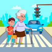Boy Helping Senior Woman Crossing Street Drawing. Grandmother With Teenage Grandchild Crossing Road. poster